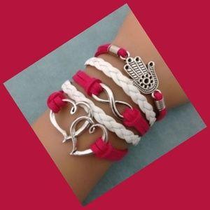 Infinity Double Hearts & Hand Leather Charm Bracel